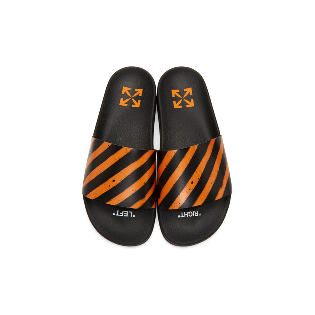 OFF-WHITE Pool Slides Rugged Diagonal Stripes Orange