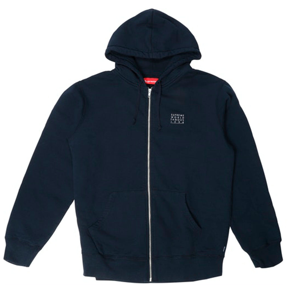 Supreme World Famous Zip Up Hooded Sweatshirt Navy