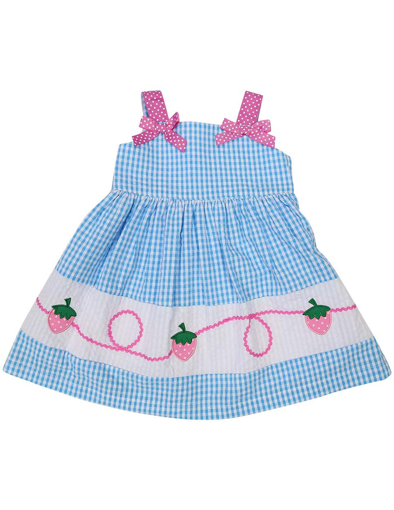 A1214A Seersucker Strawberry Dress-Dress-Korango_Australia-Kids_Fashion-Children's_Wear
