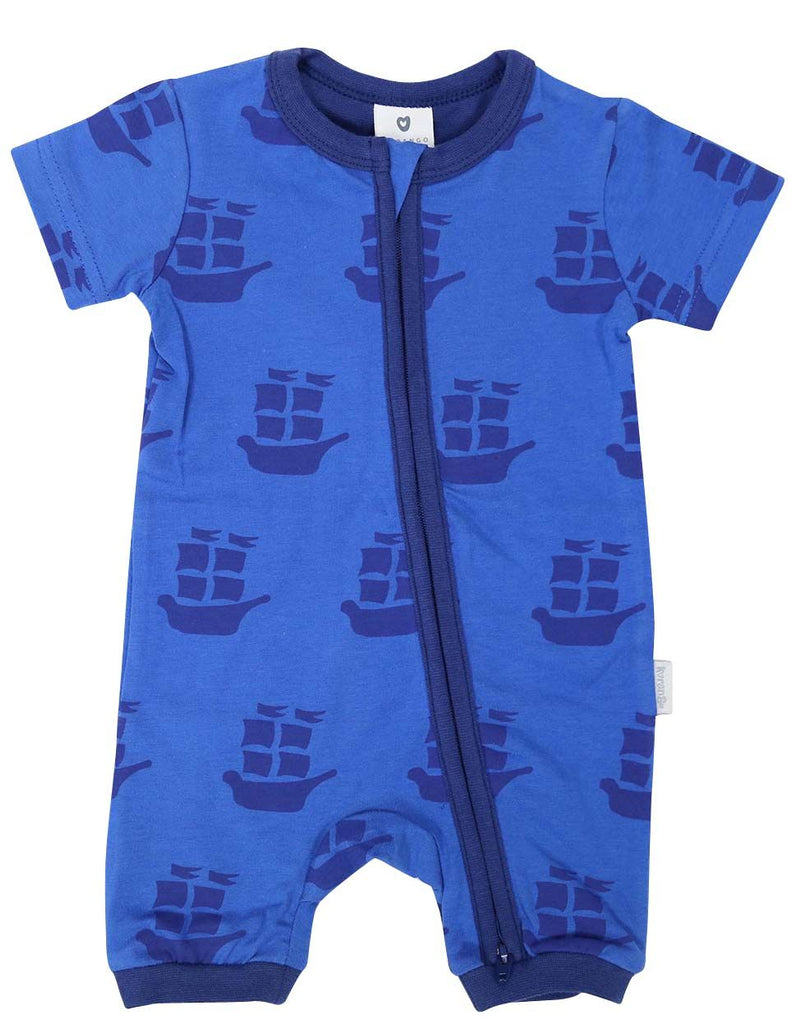 B1202B Pirate Ships Zip Short Sleeve Romper-All In Ones-Korango_Australia-Kids_Fashion-Children's_Wear