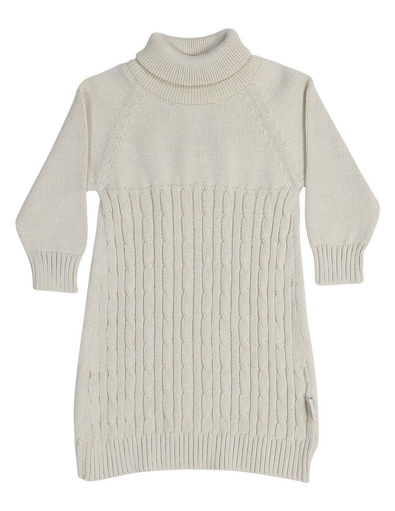 C13025B  Vamos Vintage Girls Cable Knit Turtle Neck Dress