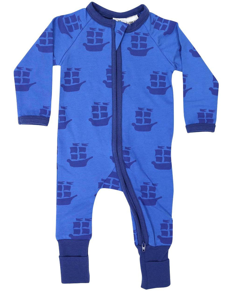 B1201B Pirate Ships Long Sleeve Romper-All In Ones-Korango_Australia-Kids_Fashion-Children's_Wear