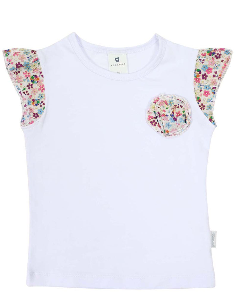 A1227P Floral Frill Top-Tops-Korango_Australia-Kids_Fashion-Children's_Wear