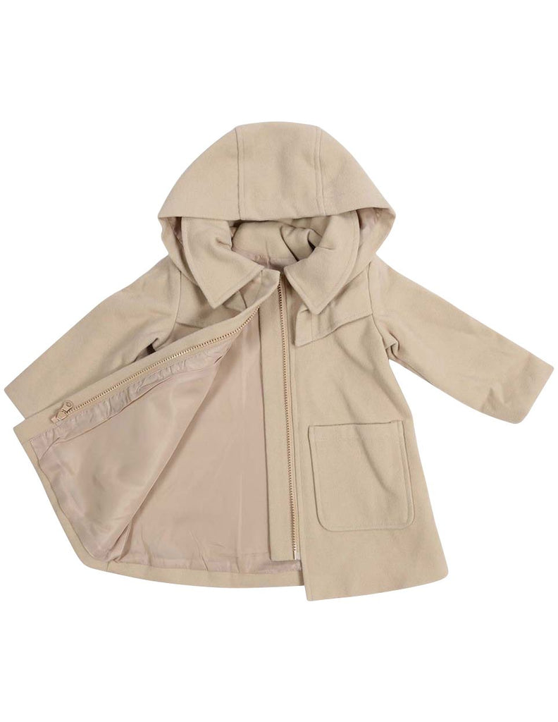 C13028B  Vamos Vintage Girls Zip Lined Overcoat with Hood