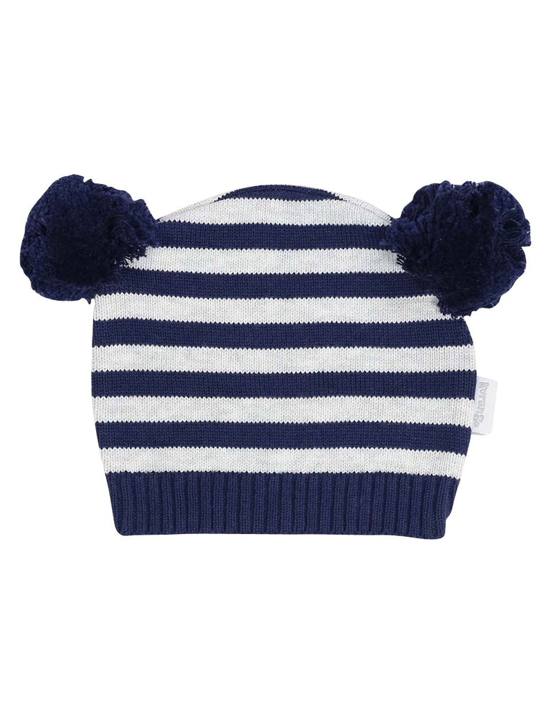 B13027G Baa Baa White Sheep Stripe Knit Beanie with Pom Poms