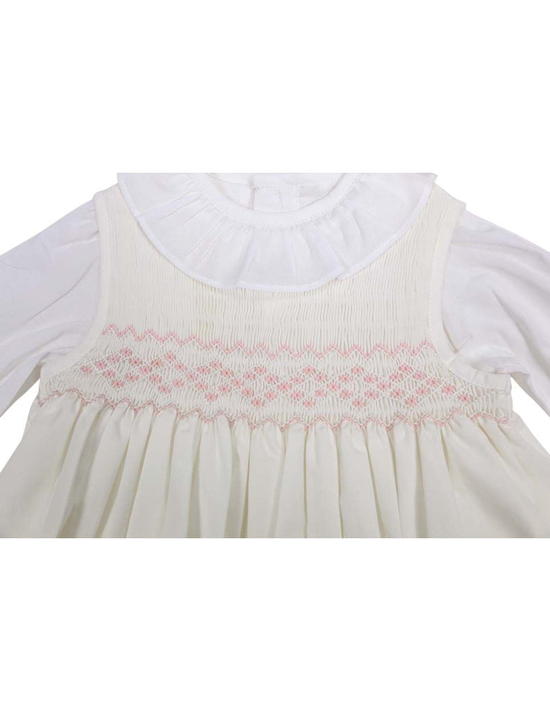 C13004I Timeless Hand Smocked/Embroidered Cotton Twill Dress & Blouse