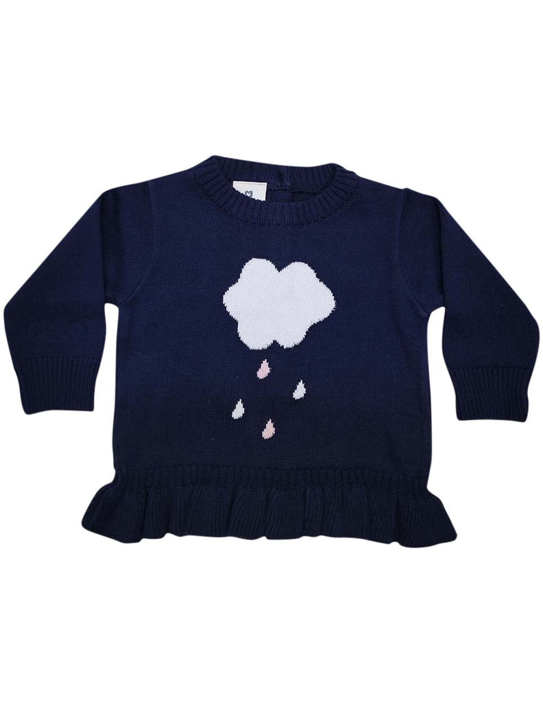 A1307N Raindrops Knit Sweater with Frill