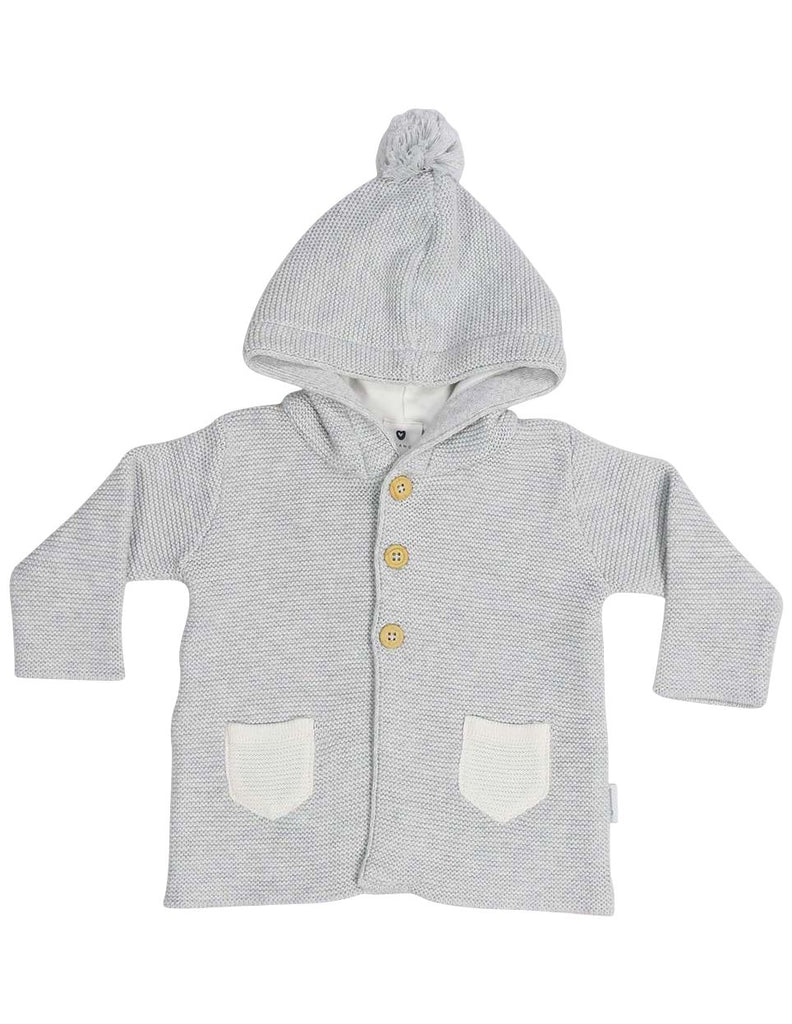 B13024G  Baa Baa White Sheep Hooded Knit Jacket with Contrast Pocket
