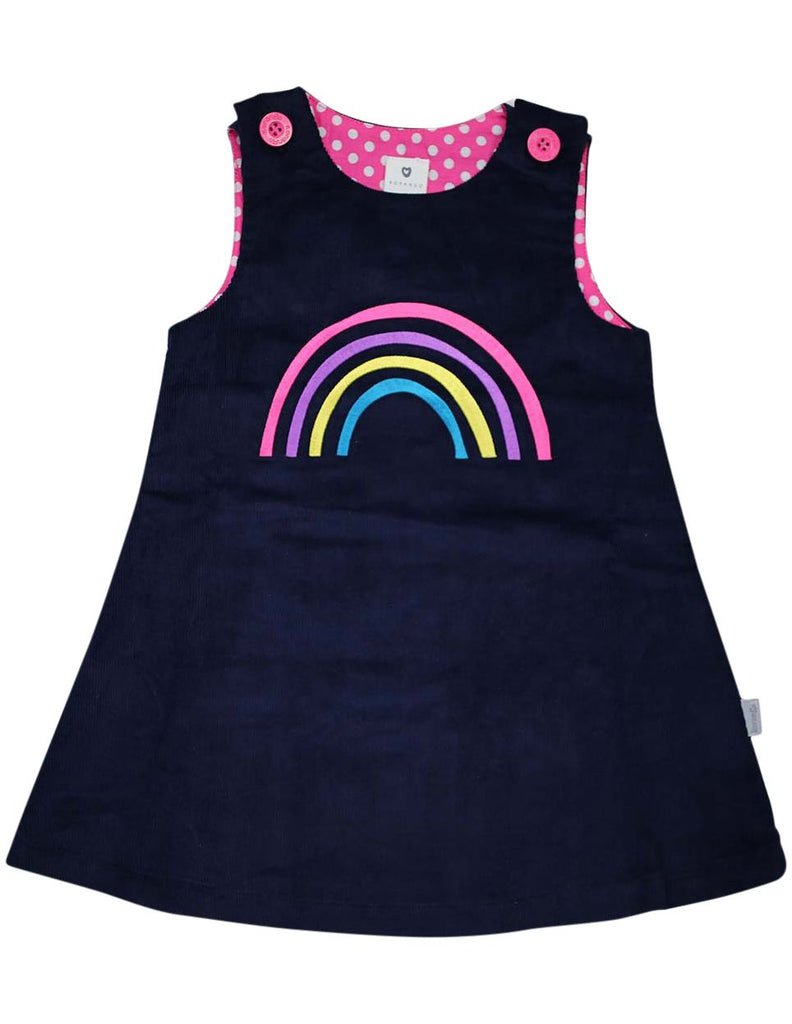 A1354N Standing out from the Crowd Rainbow Lined Cord Pinafore