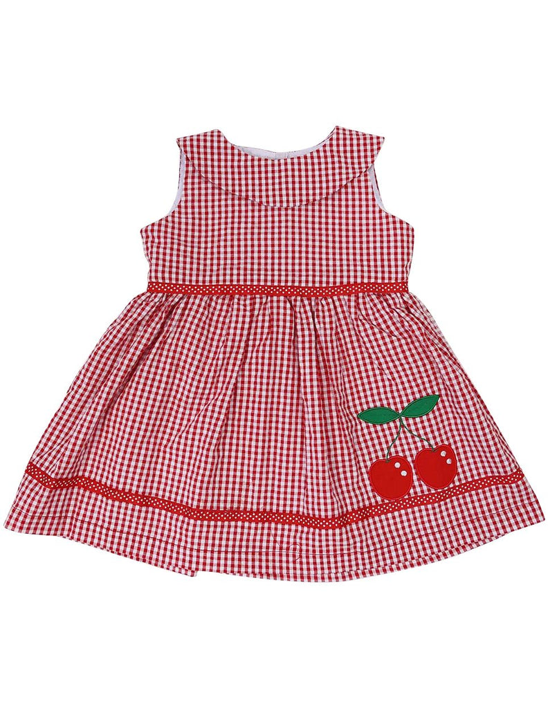 A1213R Seersucker Cherry Dress-Dress-Korango_Australia-Kids_Fashion-Children's_Wear