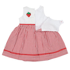 A1441R Strawberry Seersucker Dress