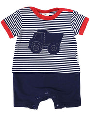 B1212R Tip Truck Short Sleeve Romper-All In Ones-Korango_Australia-Kids_Fashion-Children's_Wear