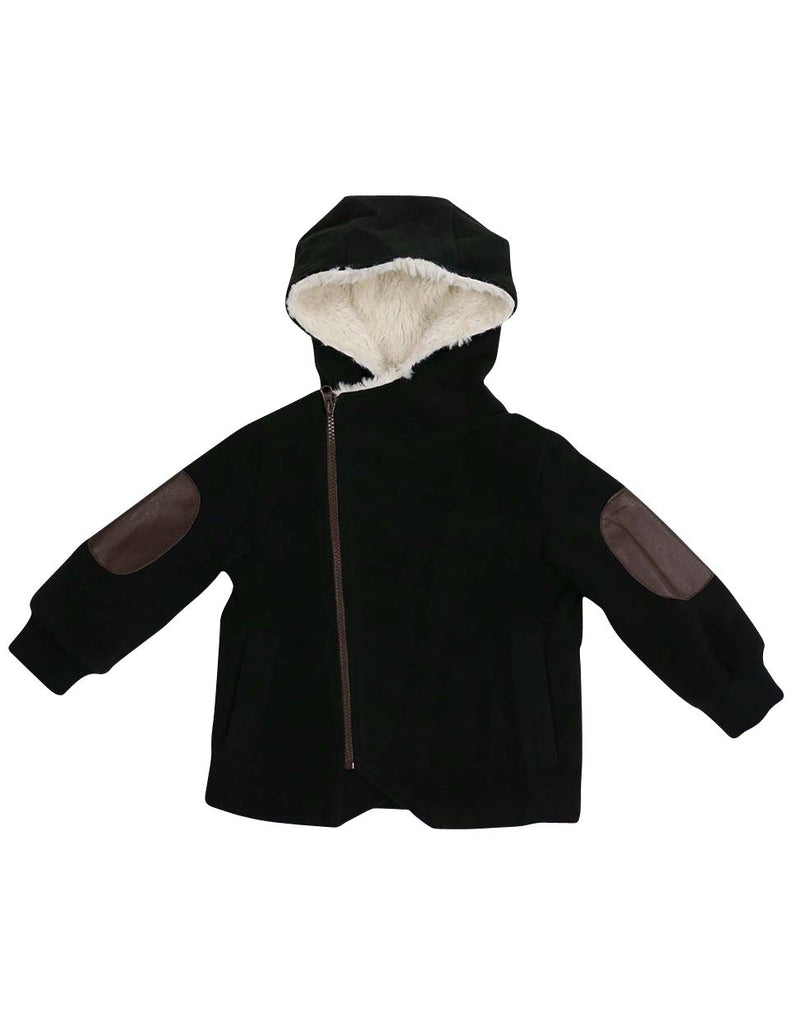 A1326B City Lined Zip up Jacket with Fur Lined Hood