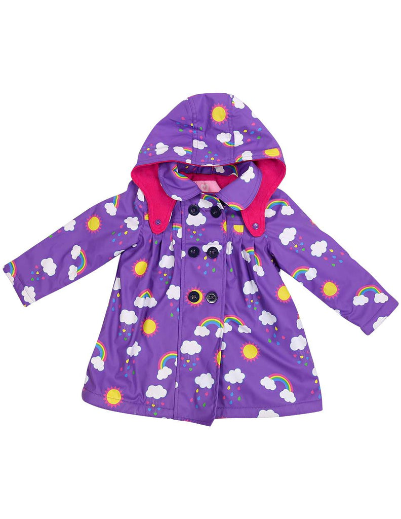A1340V Rainwear Raincoat Rainbow Print Polar Fleece Lined