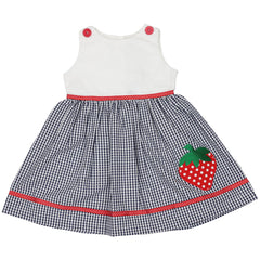 A1441N Strawberry Seersucker Dress