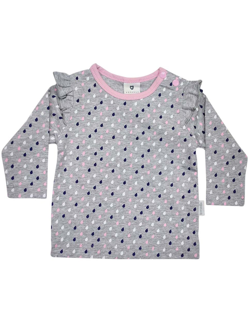 A1309G Raindrops Long Sleeve Rain Print Tee with Frill