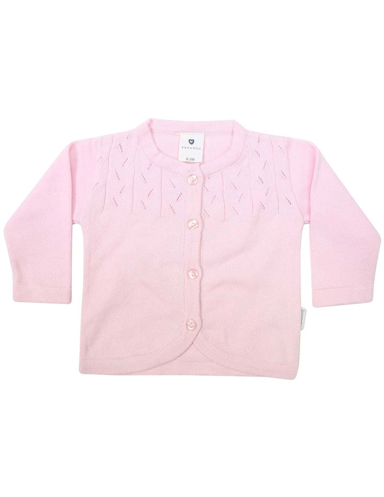 C1203P Rosette Cardigan-Cardigans/Jackets/Sweaters-Korango_Australia-Kids_Fashion-Children's_Wear