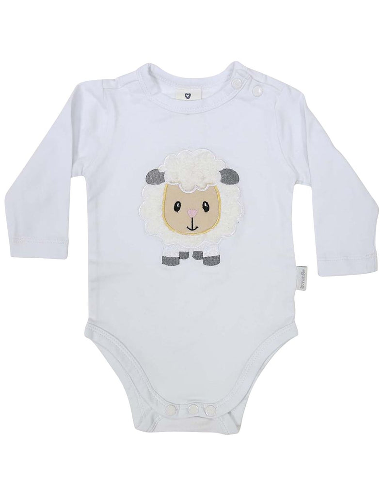 B13025W Baa Baa White Sheep Bodysuit with Applique