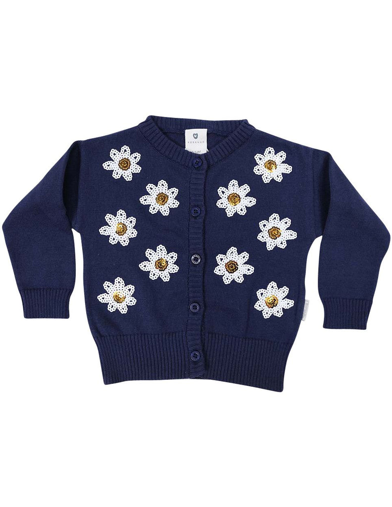 A1246N Daisy Sequence Cardigan-Cardigans/Jackets/Sweaters-Korango_Australia-Kids_Fashion-Children's_Wear