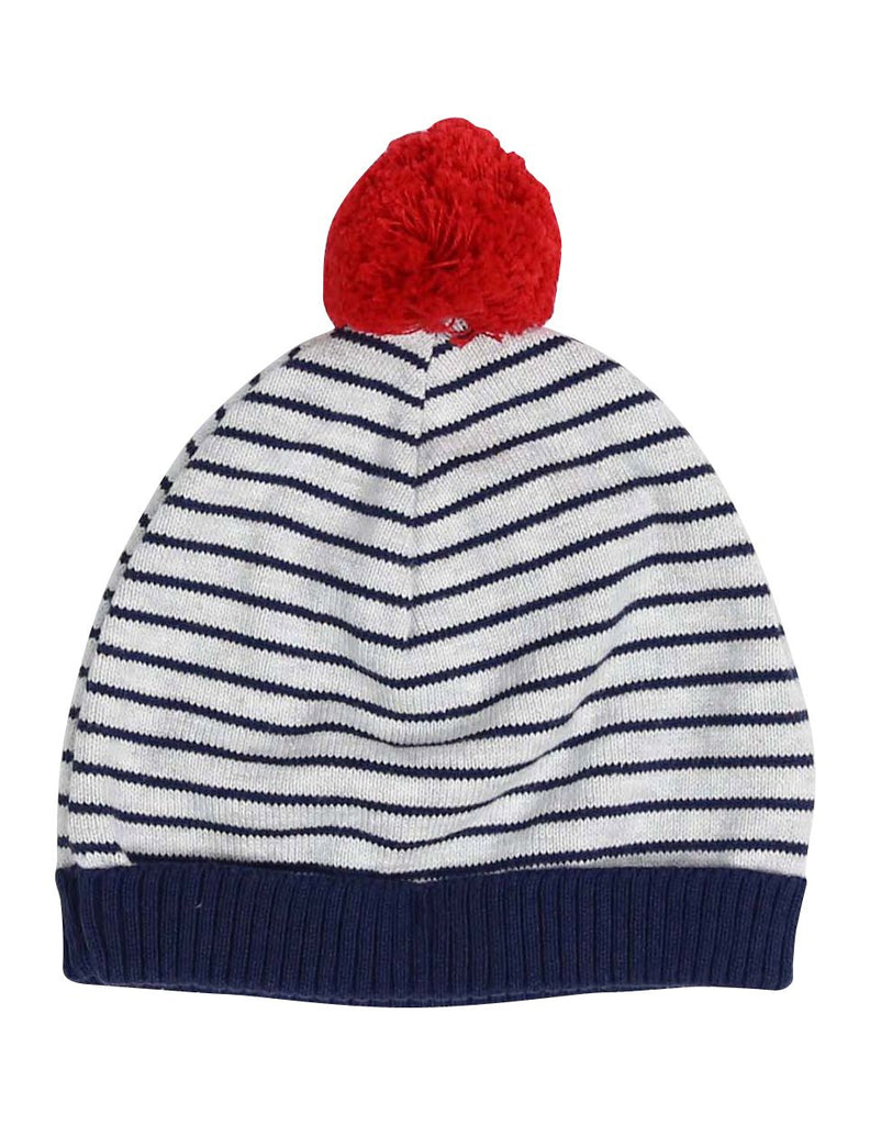 C13011G  Fire Truck Stripe Knit Beanie with Pom Pom