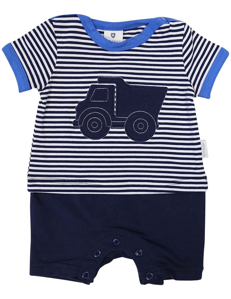 B1212B Tip Truck Short Sleeve Romper-All In Ones-Korango_Australia-Kids_Fashion-Children's_Wear