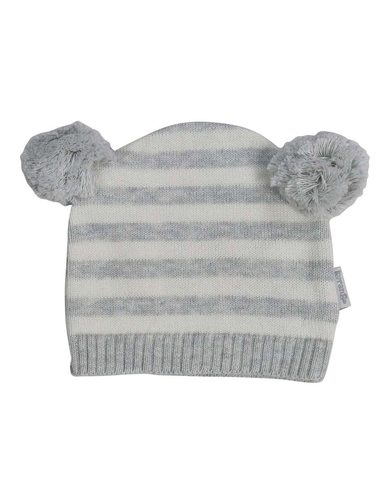 B13027C  Baa Baa White Sheep Stripe Knit Beanie with Pom Poms