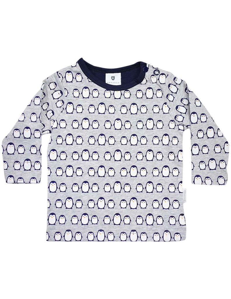 B13020N Baby Penguin Printed Long Sleeve Top