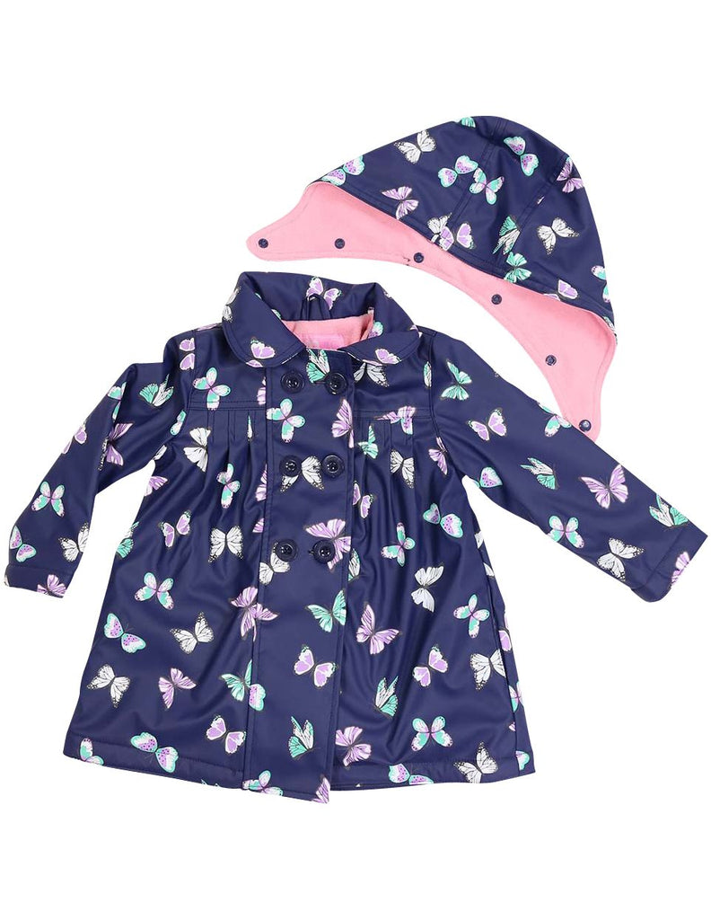 A1341N Rainwear Raincoat Butterfly Print Polar Fleece Lined