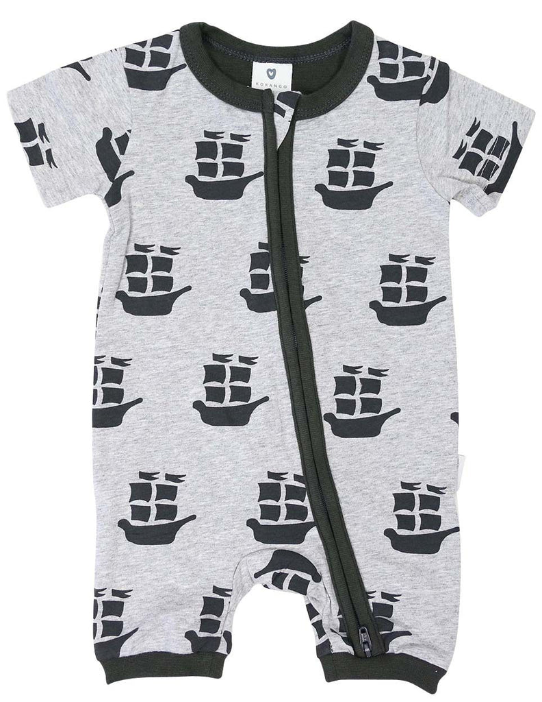 B1202C Pirate Ships Zip Short Sleeve Romper-All In Ones-Korango_Australia-Kids_Fashion-Children's_Wear