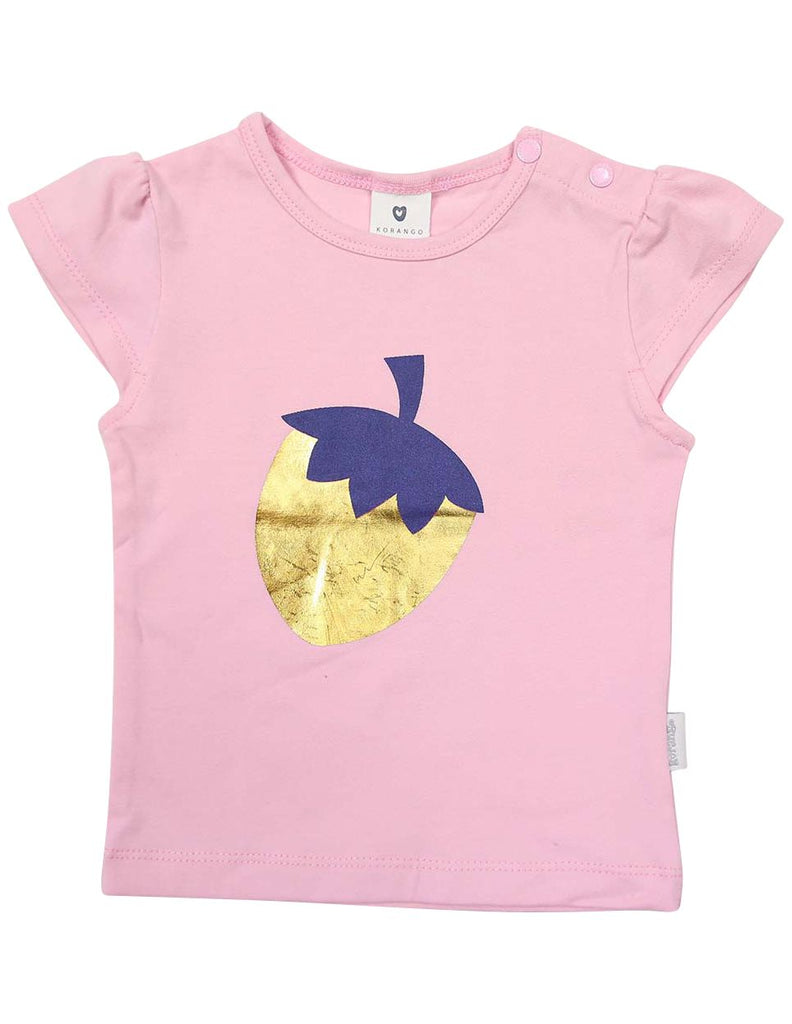 A1237P Strawberry Printed Tee-Tops-Korango_Australia-Kids_Fashion-Children's_Wear
