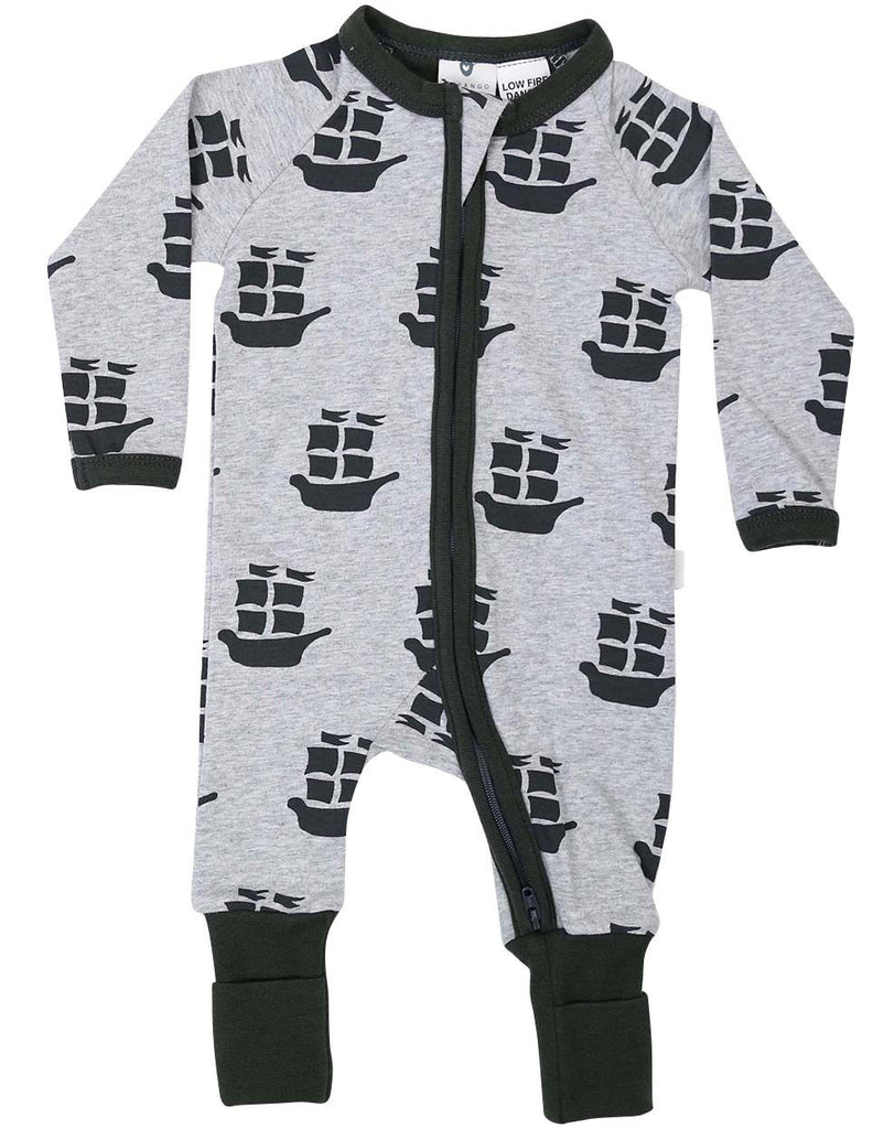 B1201C Pirate Ships Long Sleeve Romper