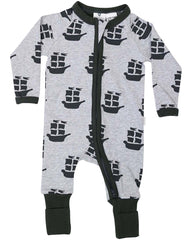 B1201C Pirate Ships Long Sleeve Romper-All In Ones-Korango_Australia-Kids_Fashion-Children's_Wear