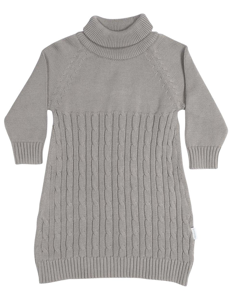 C13025G Vamos Vintage Girls Cable Knit Turtle Neck Dress