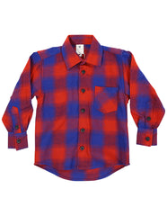 A1119R Bear in There Bear Check Flannel Shirt-Tops-Korango_Australia-Kids_Fashion-Children's_Wear