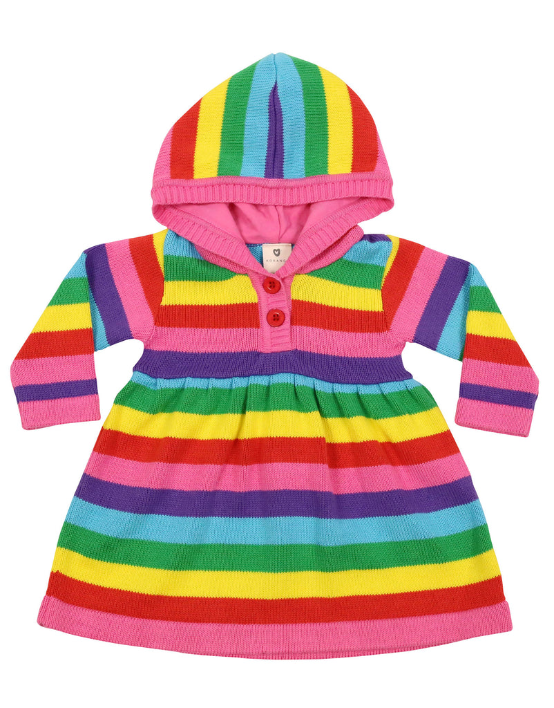 A9030 Stripes Knit Hooded Dress-Dresses-Korango_Australia-Kids_Fashion-Children's_Wear