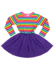 A9031 Stripes Rainbow Tulle Dress-Dresses-Korango_Australia-Kids_Fashion-Children's_Wear