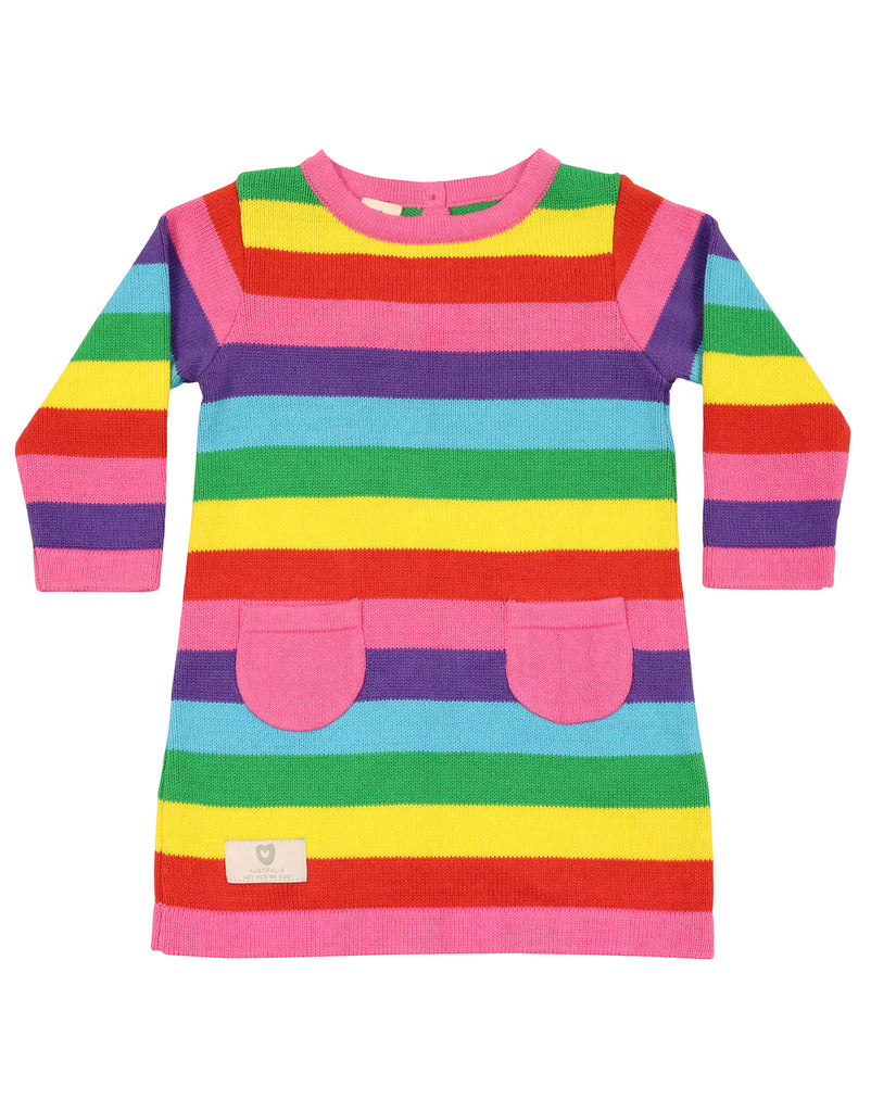 A9032S Stripes A-line Knit dress-Dresses-Korango_Australia-Kids_Fashion-Children's_Wear