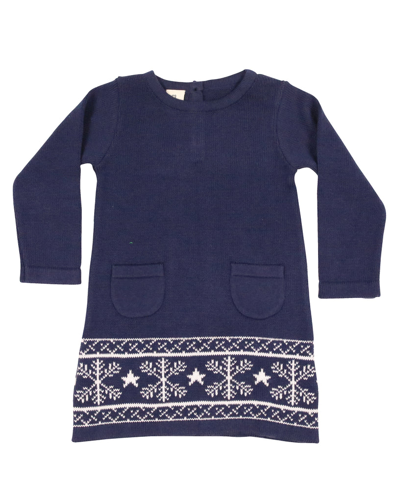 A9050N Snowflakes A-line Knit dress-Dresses-Korango_Australia-Kids_Fashion-Children's_Wear