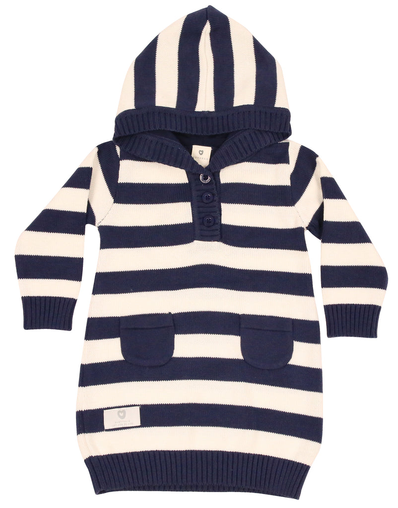A9066 Singing in the Rain Hooded Knit Dress-Dresses-Korango_Australia-Kids_Fashion-Children's_Wear