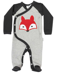 B1101 Mr Fox Long Sleeve Romper-All in Ones-Korango_Australia-Kids_Fashion-Children's_Wear