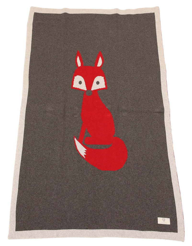 B1109 Mr Fox Knit Blanket-Accessories-Korango_Australia-Kids_Fashion-Children's_Wear