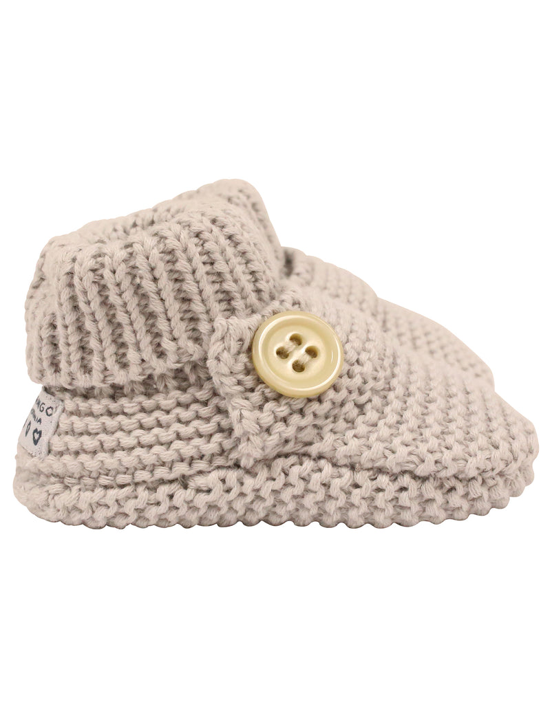 C7023G Knitted Booties Button Bootie-Accessories-Korango_Australia-Kids_Fashion-Children's_Wear