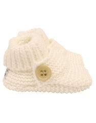 C7023W Knitted Booties Button Bootie-Accessories-Korango_Australia-Kids_Fashion-Children's_Wear
