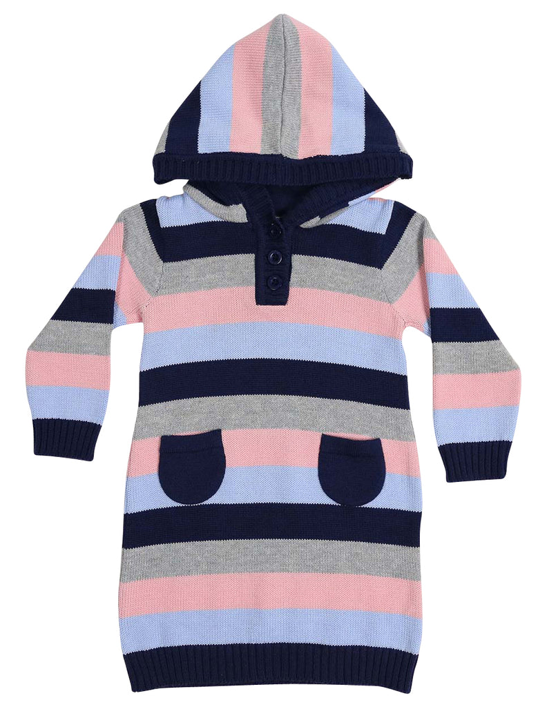 A1323P Clouds Stripe Hooded Knit Dress