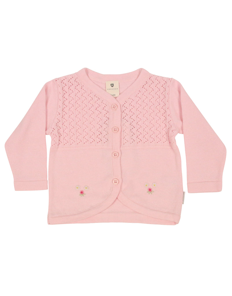C9001 Rosettes Cardigan-Cardigan/Jackets/Sweaters-Korango_Australia-Kids_Fashion-Children's_Wear
