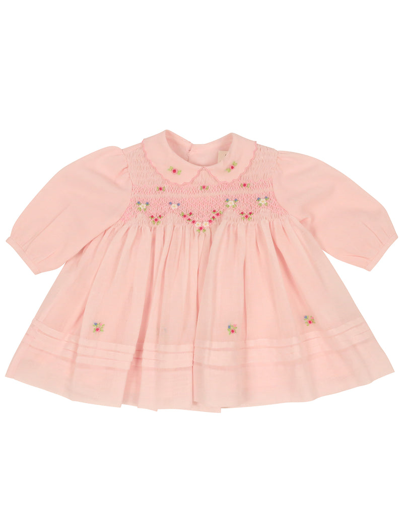 C9002P Rosettes Voile Smocked Dress-Dresses-Korango_Australia-Kids_Fashion-Children's_Wear