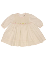 C9003 Rosettes Twill Smocked Dress-Dresses-Korango_Australia-Kids_Fashion-Children's_Wear