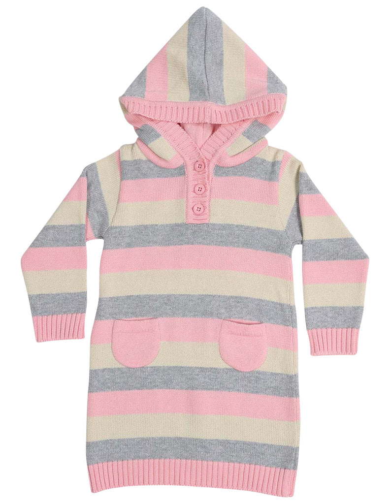 A1323B Clouds Stripe Hooded Knit Dress