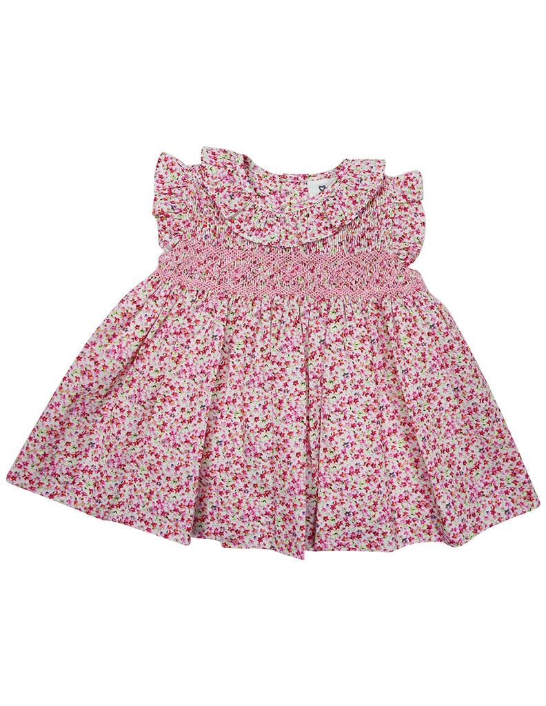 A1447F Flowers Floral Hand Smocked Dress