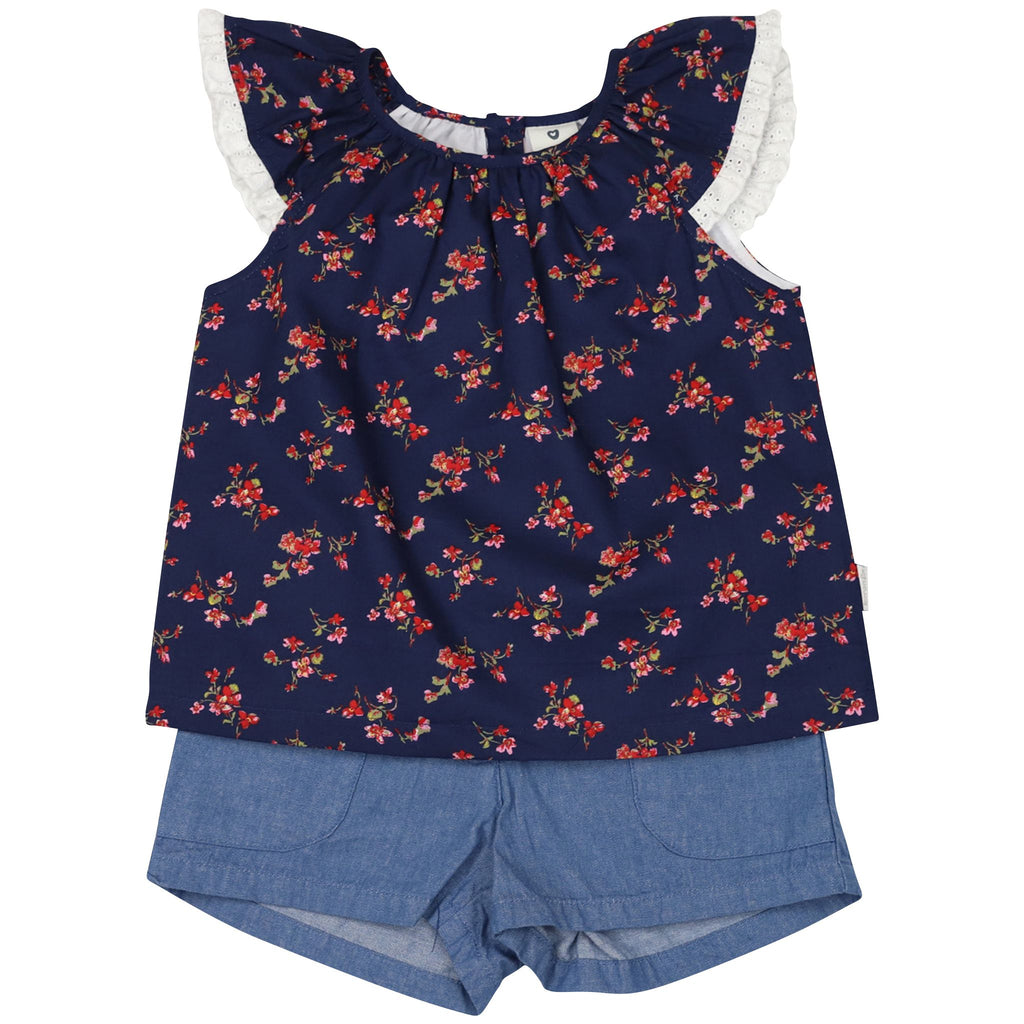 C1422N Navy Floral Blouse and Short Set